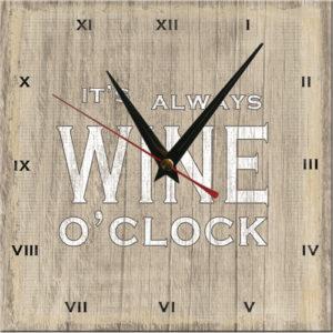 Wooden Clock-Always Wine O'Clock