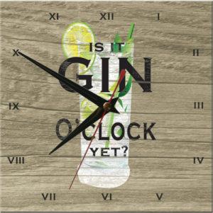 Wooden Clock-Is it Gin O'Clock