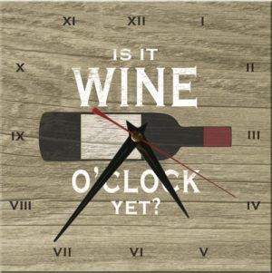 Wooden Clock-Is it Wine O'Clock