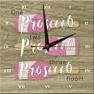 Wooden Clock-Prosecco floor!