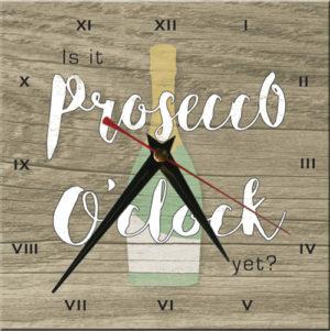 Wooden Clock-Is it Prosecco O'clock