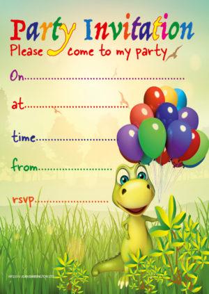 Dino Balloons Invite