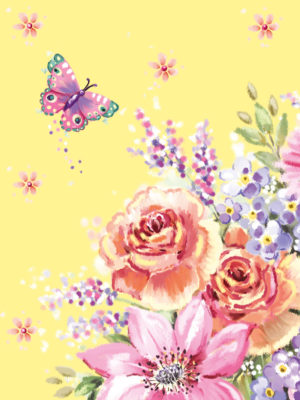 Pocket Floral-Yellow Floral Butterfly