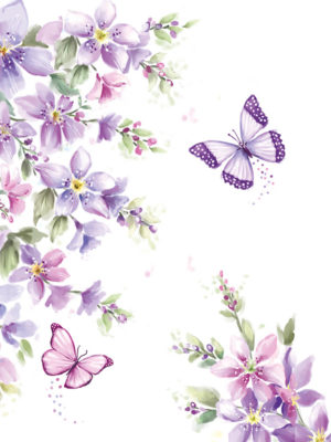 Pocket Floral-Purple Floral Butterfly