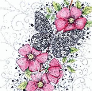 Note Card Butterfly/Flower