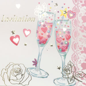 Colour Champagne flutes Invitation